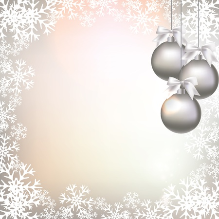 silver christmas: Christmas decorations on an abstract background
