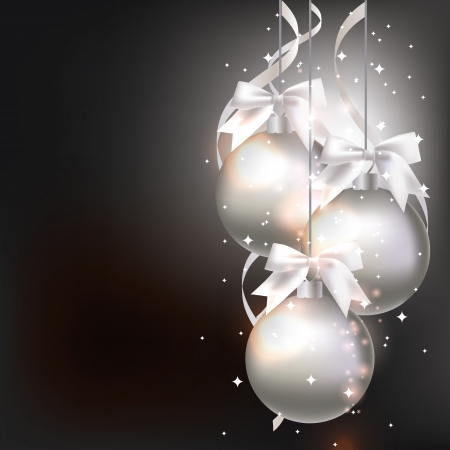 silver ribbon: Christmas decorations on an abstract background