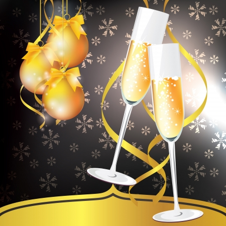 glasses of champagne on an abstract background. New Year card. Vector