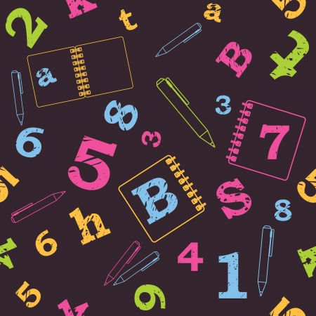 School seamless pattern, numbers, letters Stock Vector - 15216073