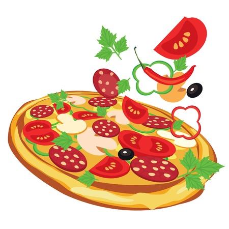 пицца, векторные иллюстрации