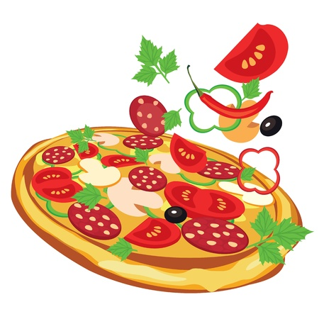 pizza ingredients: pizza, vector illustration Illustration