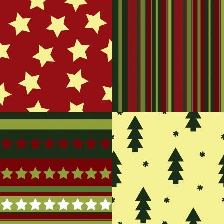 Набор бесшовных шаблонов Рождество Иллюстрация