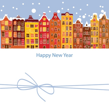 netherlands: winter city, New Year, vector illustration