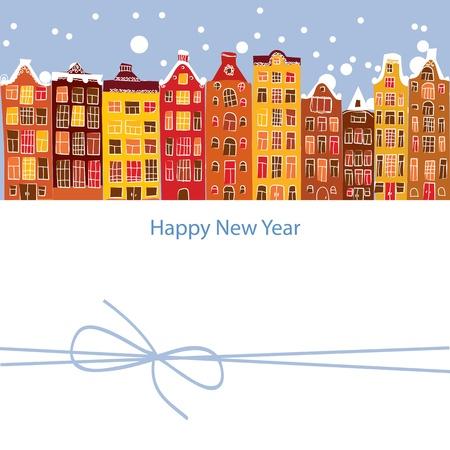the netherlands: winter stad, Nieuwjaar, vectorillustratie