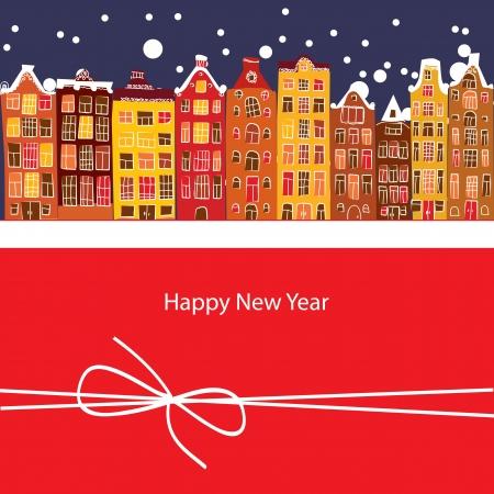 Зимой город, Новый год, векторные иллюстрации