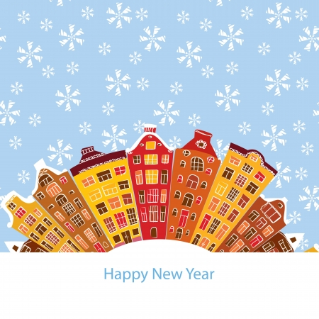 winter city, New Year, vector illustration Vector