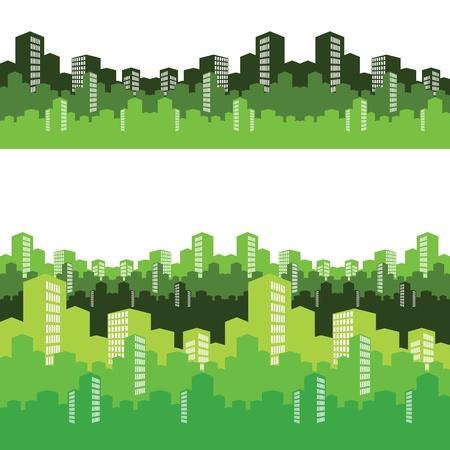 green buildings: green city, illustration, background Illustration