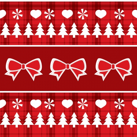 Christmas red seamless pattern with Christmas trees, bows, hearts Vector