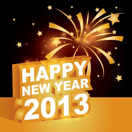 3D, Happy new year 2013 Stock Vector - 15755872