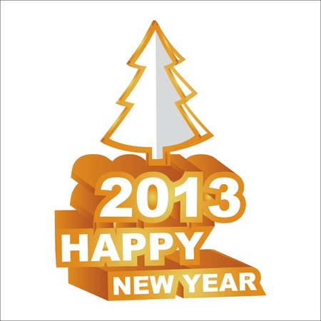 3D , Happy new year 2013 Vector