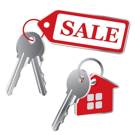 keys on a white background, the sale Vector