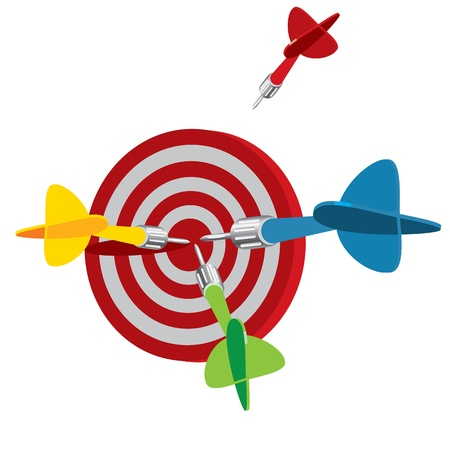 goal achievement: Dart on target, vector illustration, isolated on a white background Illustration