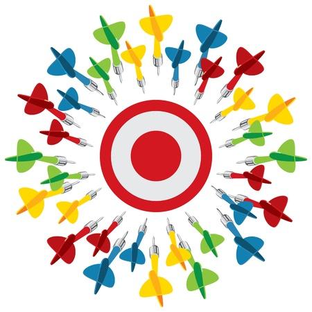 doelstelling: Dart op doel, vector illustratie, geïsoleerd op een witte achtergrond Stock Illustratie