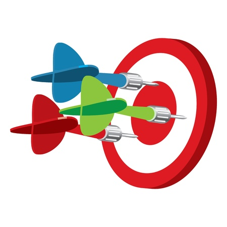 Dart on target, vector illustration, isolated on a white background Vector
