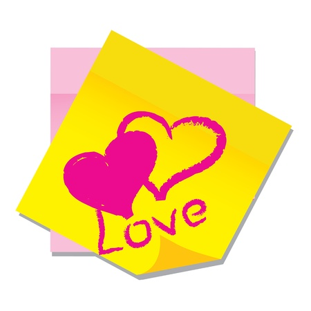 office appliances: vector paper sticker with heart