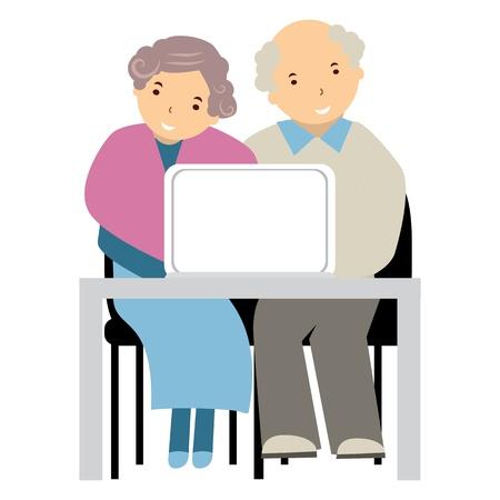 생각에 잠겨있는: 컴퓨터에서 노인 일러스트