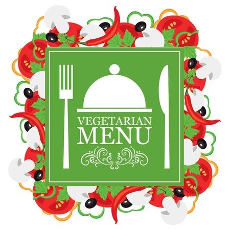 logo de comida: vector vegetariano menú