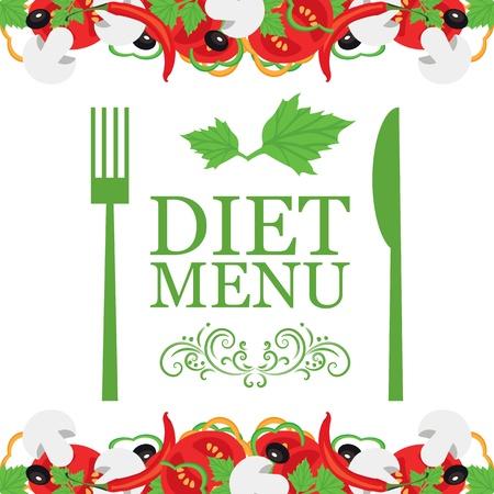 abstract art vegetables: Vector diet menu