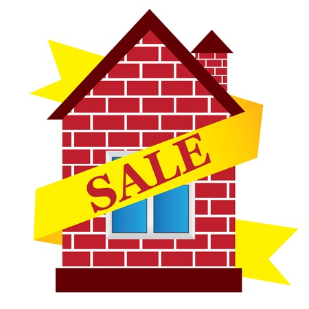 yellow roof:  house, sale House Illustration