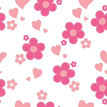 pink heart: seamless pattern with flowers