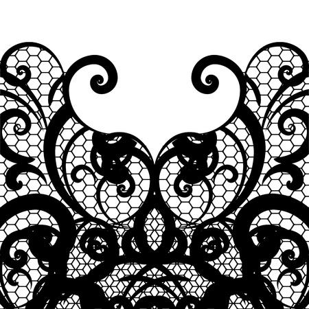 dessin noir blanc: fond de dentelle vecteur Illustration