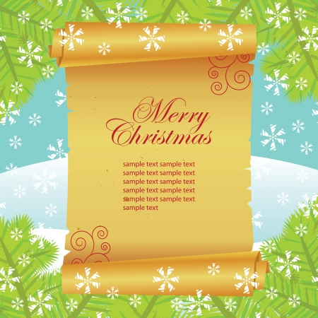 Christmas card, paper scroll Vector