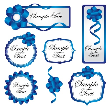 label with blue bow Vector