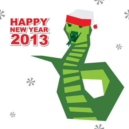New Year Card with a snake Vector