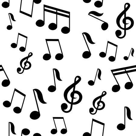 music notes: vector seamless pattern with music notes Illustration