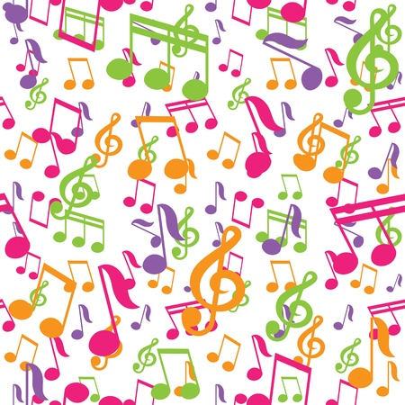 music symbols: vector seamless pattern with music notes Illustration