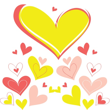 yellow heart: Vector background heart