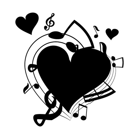 love music: vector illustration of heart, musical notes