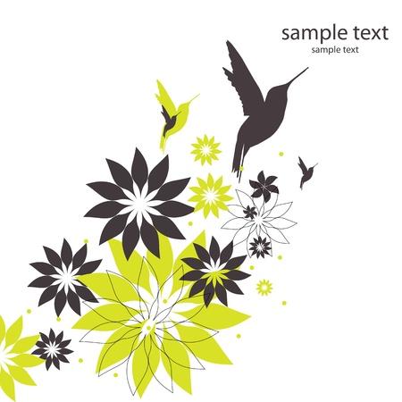 вектор фон с птицами и цветами