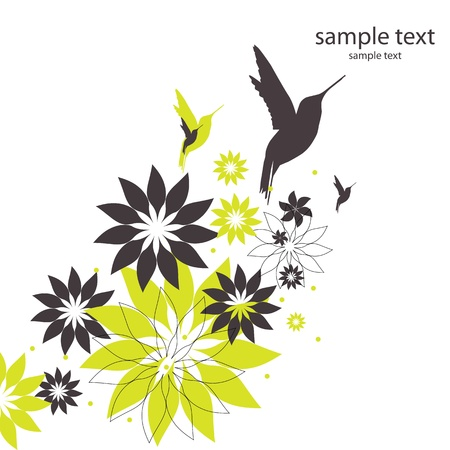 vector background with birds and flowers