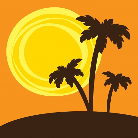 palm trees silhouette: Silhouette of palm trees