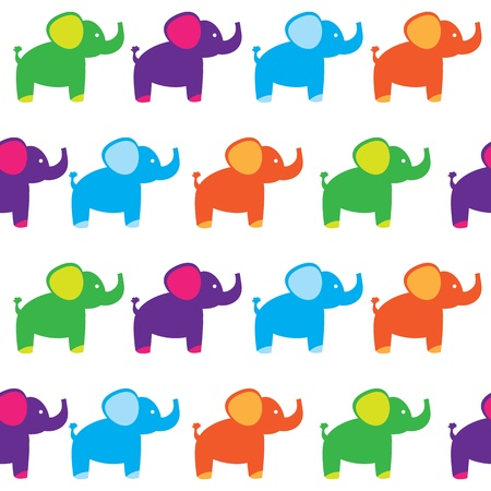 seamless set of elephants Vector