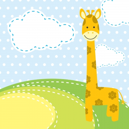 funny pictures: vector background with giraffe