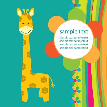 baby picture: vector background with giraffe