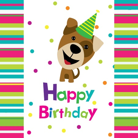 Vector birthday card with a dog Vector