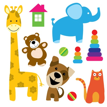 toy house: set of vector animals toys