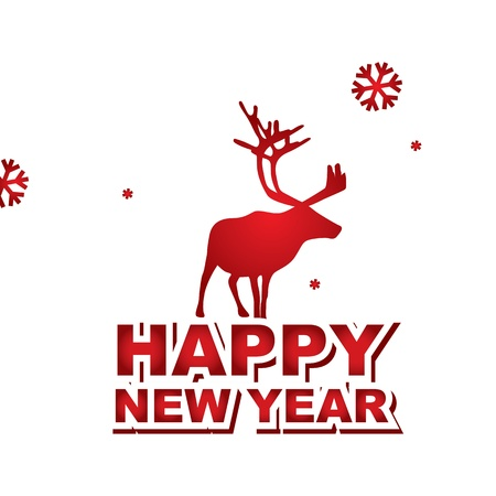 vector New Year Card with deer Stock Vector - 17725693