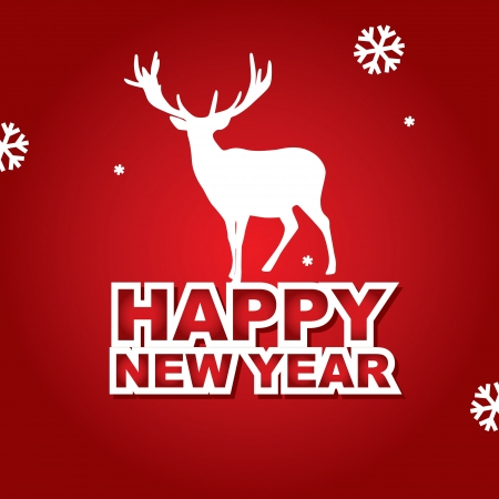 vector New Year Card with deer Stock Vector - 17725694