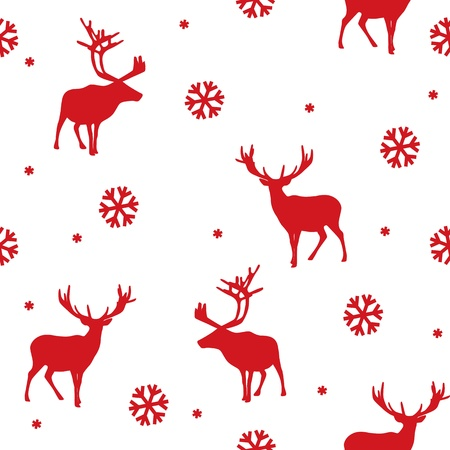 vector seamless winter pattern with deer