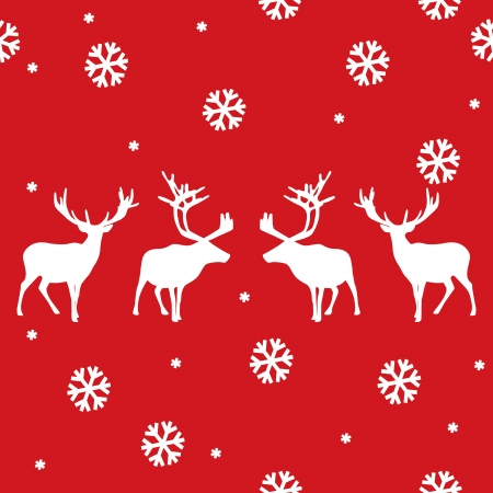 vector seamless winter pattern with deer Vector