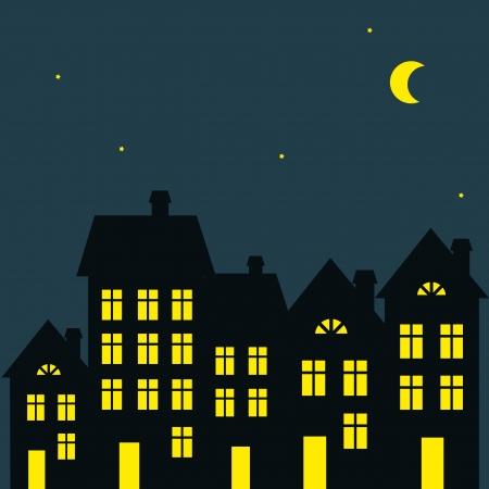 vista ventana: ilustraci�n vectorial de la noche de la ciudad Vectores