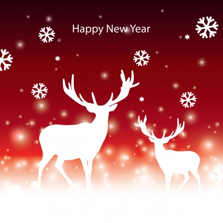 abstract vector Christmas banner with reindeer Vector