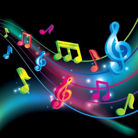 Vecteur notes de musique vecteur de fond Banque d'images - 18104380