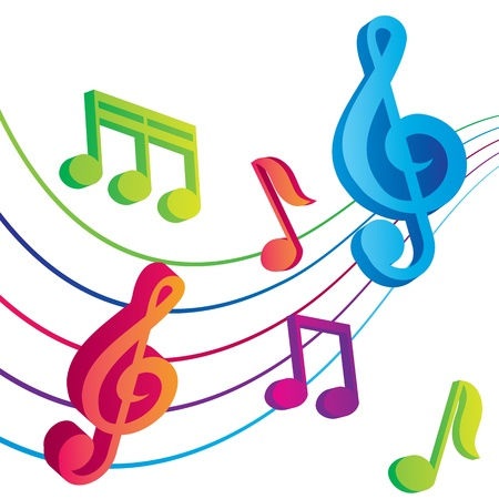 disco symbol: vector musical notes vector background