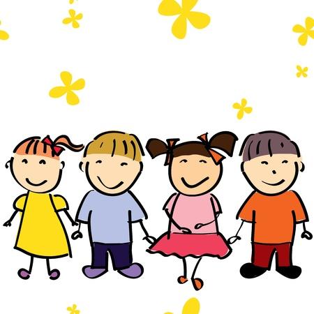 stylish boy: illustration of happy kids